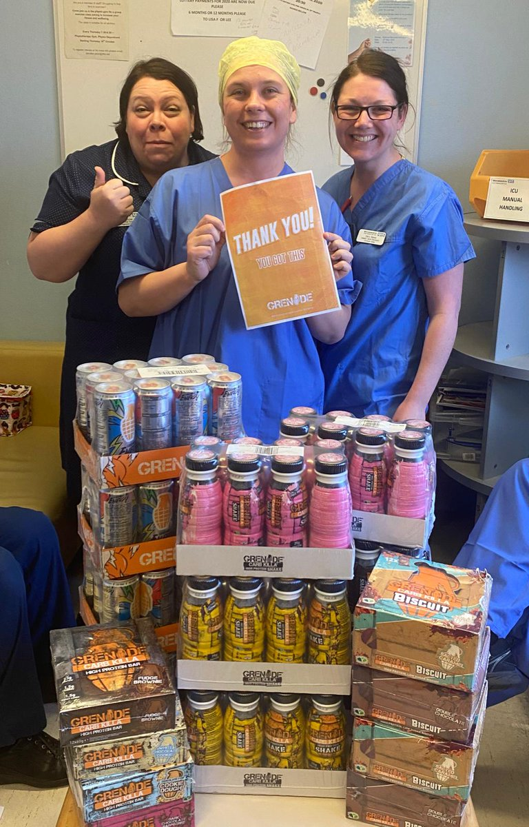 A relative of a colleague at Lord absolutely delighted to receive her @grenadeofficial Care Package for her ICU team working so hard at Redditch Alexandra Hospital 😍🧡 #ThankyouGrenade #Grenade #NHS #thankyouNHS