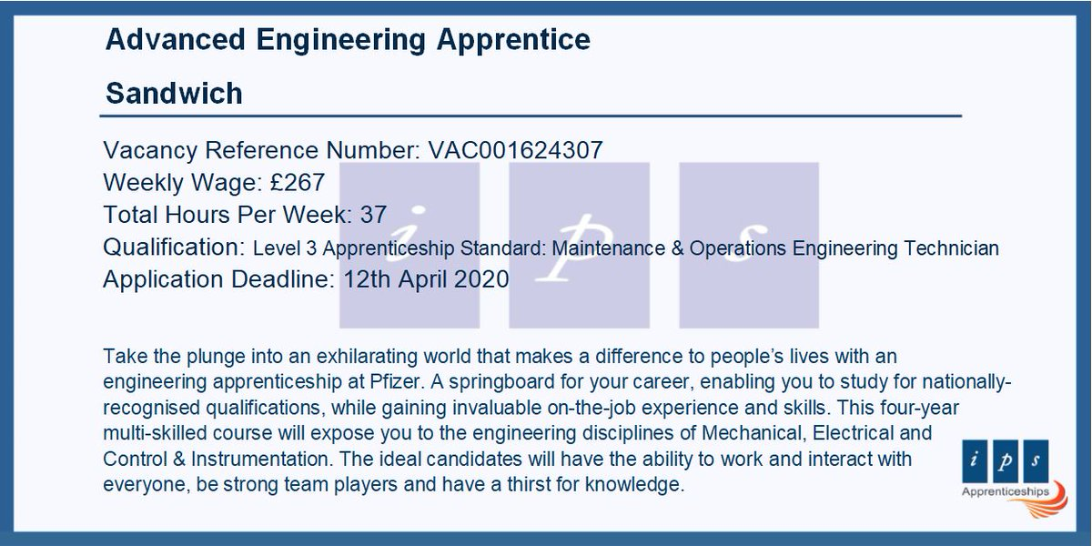 An excellent opportunity to take the plunge into an exhilarating world that makes a difference to people's lives with an #engineering #apprenticeship with the company #Pfizer in #Sandwich.  Check this outhttps://www.findapprenticeship.service.gov.uk/apprenticeship/-515162 …  #ApprenticeshipVacancy #investinyourfuture pic.twitter.com/ovznu5MsdT