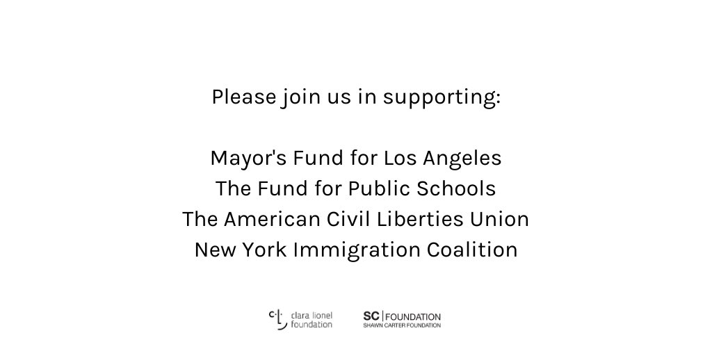 Thank you  @S_C_'s @shawncartersf for joining us to give a combined $2 million to @MayorsFundLA @TheFundforPS @ACLU @thenyic for COVID-19 response supporting undocumented workers, children of frontline healthworkers & first responders, & incarcerated, elderly & homeless people. https://t.co/bNCFVzYTZp