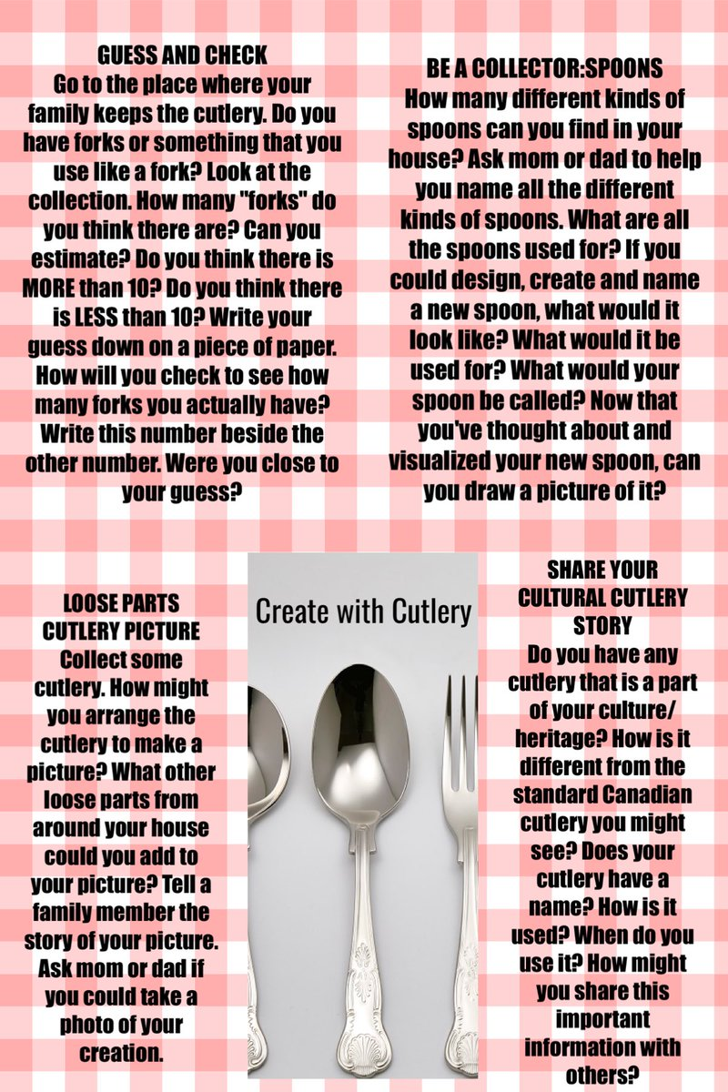 Hello @CliftonPS early years families (K-1). I have put together some ideas for learning experiences using found items in your home. This week we explore with cutlery (no knives!) Share other ideas you may have! #peeleyc #earlyyears #learningathomepic.twitter.com/fU0JeuWt2t