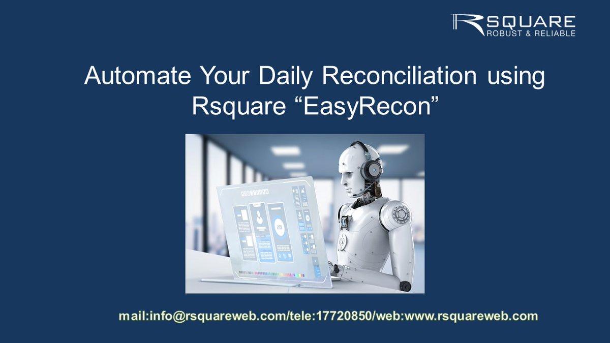 Rsquare EasyRecon -Fast & Error free reconciliation software!  Please contact Rsquare17720850/info@rsquareweb.com for Recon E- meeting demo #fintechh #banking #finance  #startup  #innovatio #RPA #reconcillation #software #rsquare #bahrainfintechbay #bahrain #teambahrain https://t.co/6DZ5Ba44Cq