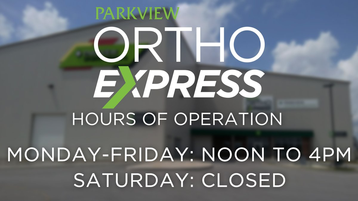 Parkview Ortho Express is now operating under reduced hours.  The walk-in clinic will be open from noon to 4 p.m. Monday through Friday; and will be closed on Saturdays until further notice. http://www.parkviewsportsmedicine.com/orthoexpresspic.twitter.com/qrvIF87Ljq