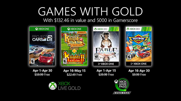 Xbox Live Games with Gold April 2020