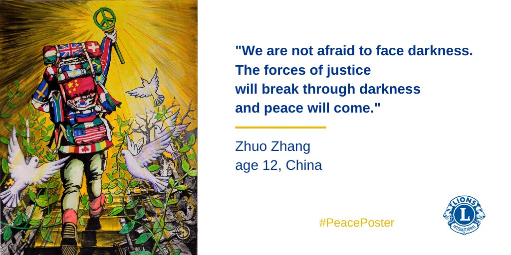 """test Twitter Media - """"We are not afraid to face darkness. The forces of justice will break through darkness and peace will come."""" - Zhuo Zhang, age12. Help Lions spread peace! Ask your child to draw, paint, write, or record their vision of peace. Share with the hashtag #PeacePoster! https://t.co/9SoW37hTpE"""