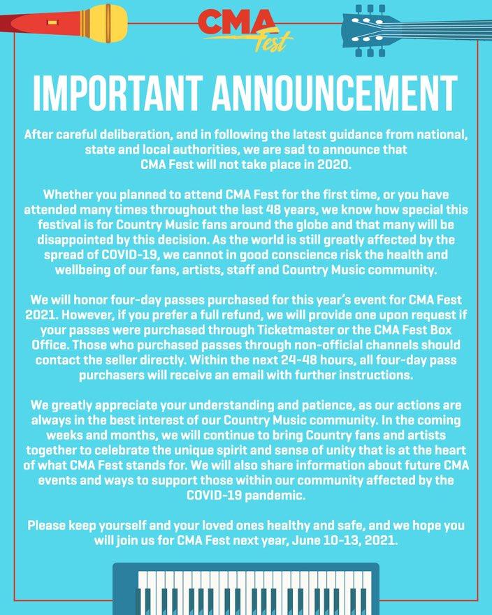 CMA Fest 2020 canceled: