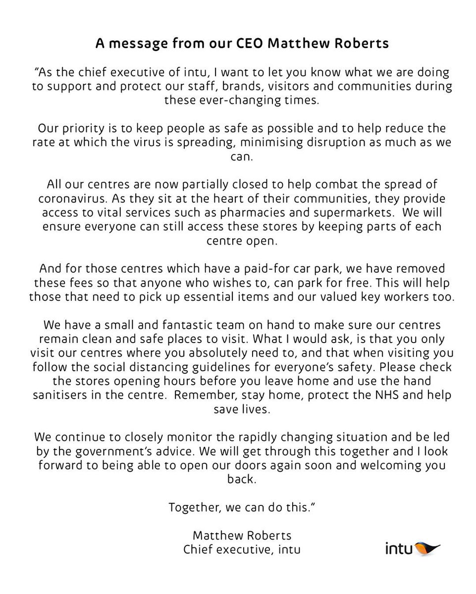 A message from our CEO, Matthew Roberts to the visitors of intu Derby