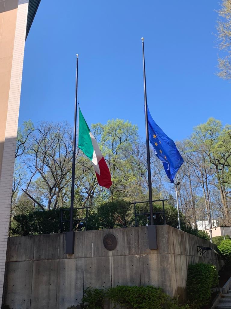 Flags at half-staff at the Embassy of #Italy in Washingtin DC to honor the victims of #coronavirus.   We stand in solidarity with all those who have lost their loved ones, family, and friends.pic.twitter.com/vZCI1YWdum