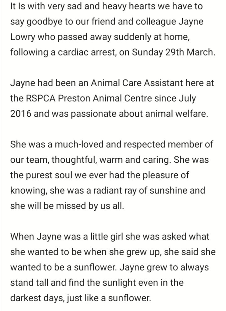 It is with sad and heavy hearts that we have to say goodbye to our friend and colleague Jayne Lowry who passed away suddenly at her home following a cardiac arrest on Sunday 29th March. Our thoughts are with Jaynes family and her boyfriend Euan and all those that loved her. https://t.co/1Gmo6Ix3Az