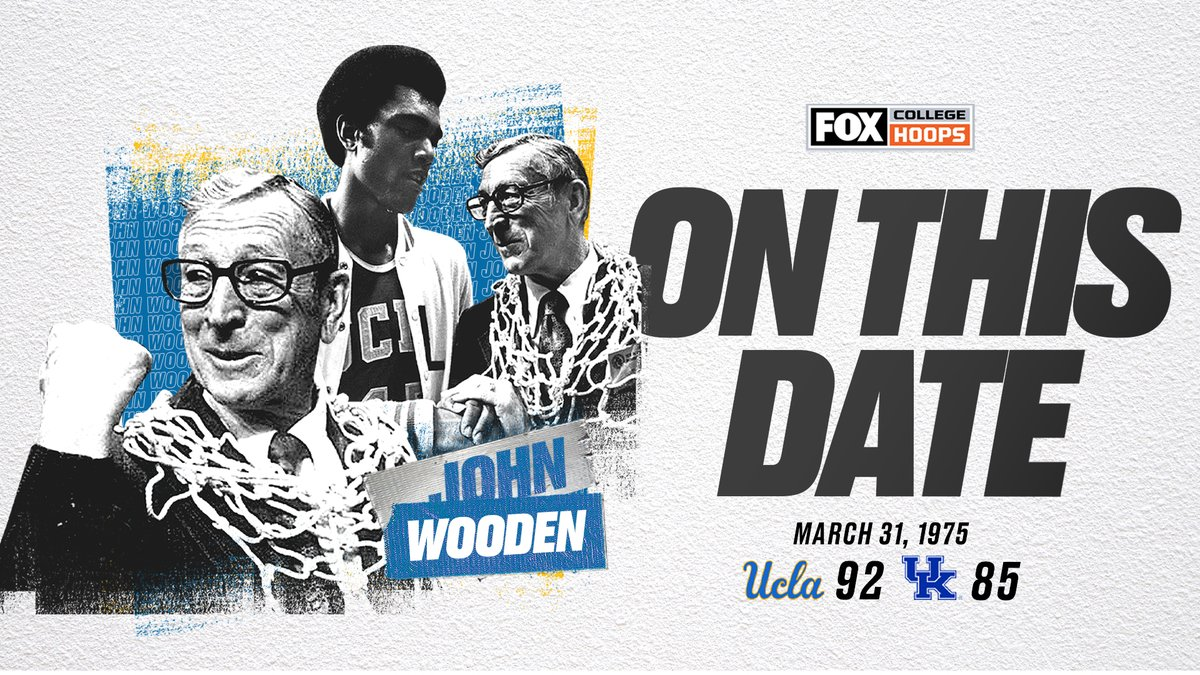 March 31, 1975: John Wooden wins his 10th and final title with @UCLAMBB before retiring 🐐