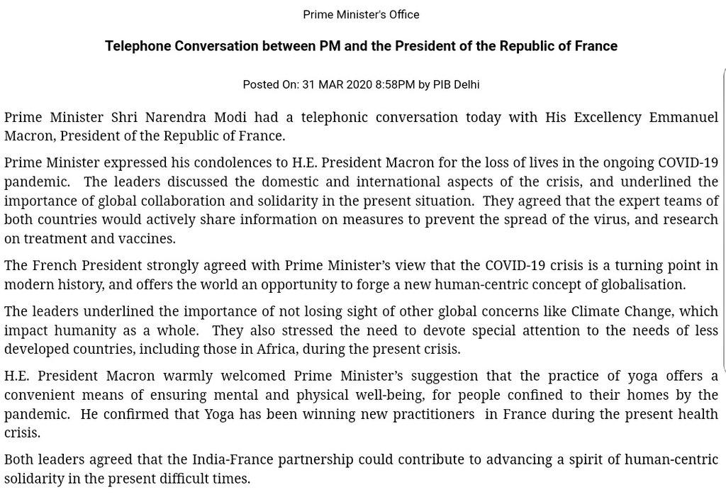 Just in: Indian Prime Minister Shri Narendra Modi speaks to French President Emmanuel Macron. Discuss #Covid<br>http://pic.twitter.com/QKj7Oa9GtS