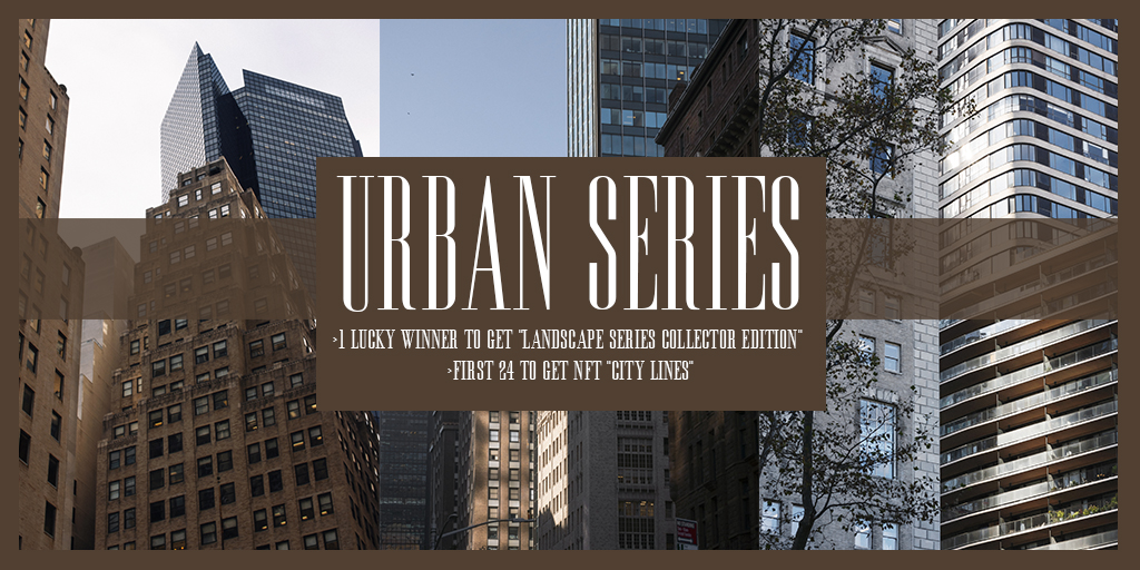 """#giveaway round 2 for the new """"Urban Series""""!  24 NFT """"City Lines"""" https://knownorigin.io/edition/155550 to be gifted the 24 first #ETH adresses that replies this post. 1 to win 1 """"Collector Edition"""" from the landscape series!    @KnownOrigin_io  @DirkSchmitt10 @pastelcrypto  #Cryptopic.twitter.com/JCGhJBdWVX"""