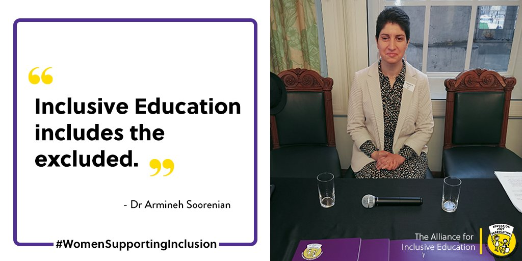 """Dr Armineh Soorenian supports #InclusiveEducation """"Inclusive Education includes the excluded"""" @ASoorenian #WomenSupportingInclusion  Subscribe for news➡️  #IWD2020 #womenempowerment #disabilityrights #inclusion #education #ALLFIE #inclusive #EducationForAll"""