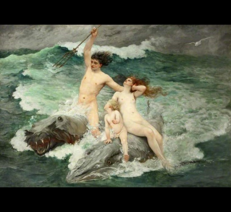 Neptune by Charles Napier Kennedy (UK, 1852–1898). Neptune  is the god of freshwater & the sea in Roman religion. His Anicent Greek counterpart is Poseidon. #MythologyMondaypic.twitter.com/XFho4rERZ5
