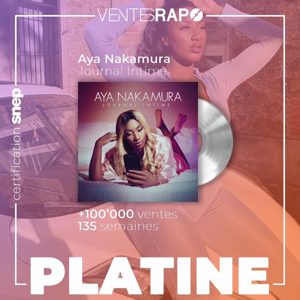 💿🇫🇷 L'album #JournalIntime d'Aya Nakamura est certifié disque de platine par le @snep !  (100.000 équivalent ventes) https://t.co/aBfUJsG7BN