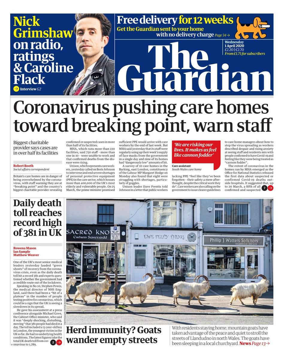 Guardian front page, Wednesday 1 April 2020: Coronavirus pushing care homes toward breaking point, warn staff