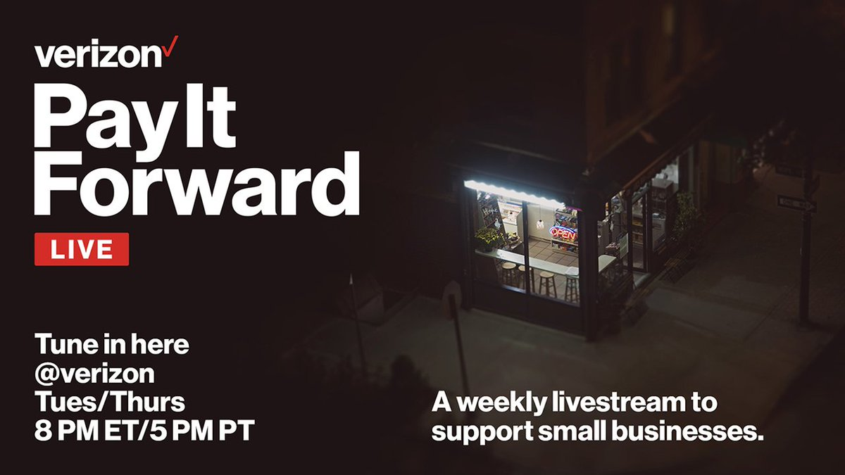 ❤ this tweet for a reminder every Tuesday and Thursday to tune in to our #PayItForwardLIVE livestreams, where big names come together to support small businesses.