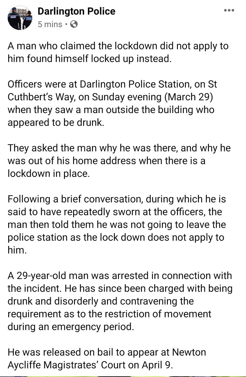 A man getting hammered on a Sunday then walking to the police station during a lockdown is the most Darlo thing I have ever read