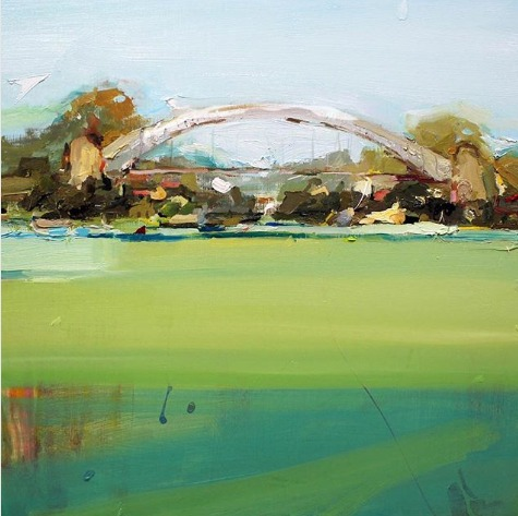 """""""Sydney Harbour in Green"""", 61X61cm, oil on board.  #paintingoftheday #artgallery #abstractexpressionist #Sydney pic.twitter.com/3ifw2tzjAb"""