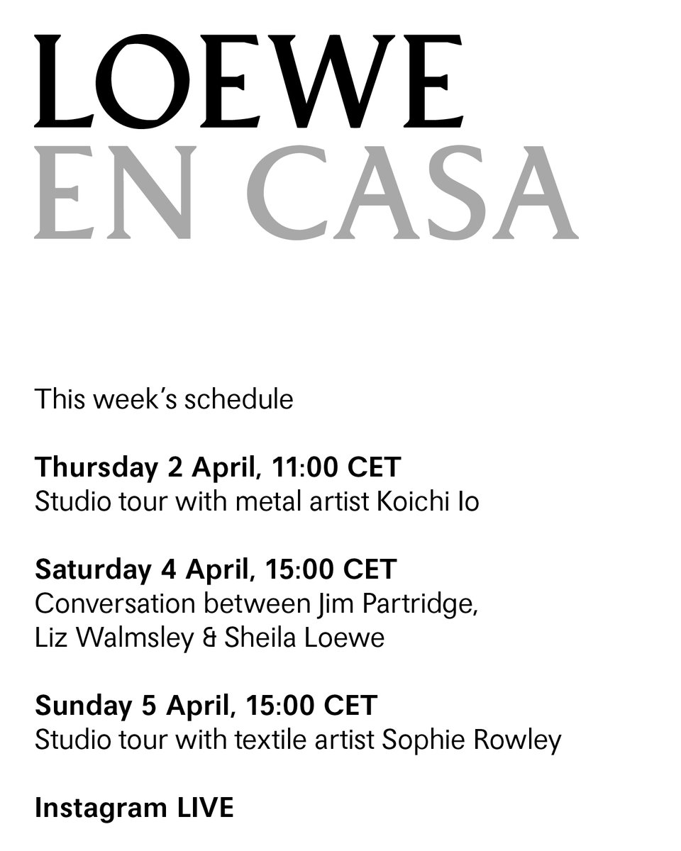 'LOEWE EN CASA' is an ongoing series of online events and workshops taking place through Instagram LIVE to enjoy while you #StayAtHome. The second phase of the lineup continues to celebrate craft and artisanship. #LOEWE