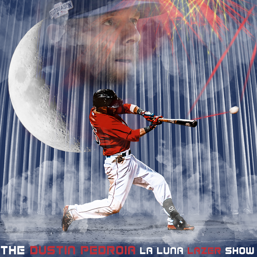 Hey Twitter, it's the Dustin Pedroia La Luna Lazer Show! #sportsgraphic #sportsdesign #sportsedits #smsports #graphicdesign #redsox #baseball  Pedroia face goes to Arturo Pardavila III,  credit for Pedroia swing goes to Eric Ruth. Both can be found on Flickr!pic.twitter.com/vf2EegltN4