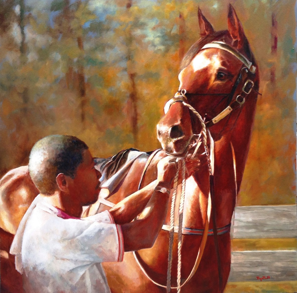 """Waiting for Jockey"" by the wonderful Joyce Hall!   Oil 36"" by 36"" Dm us for more details! . . . #joycehall #waitingforjockey #horsefineart #dogandhorsefineart #racehorse #equineart #horseandrider #oilpainting #horsesofinstagram #horselove #racehorsepainting #racehorsespic.twitter.com/RqryPmceOZ"