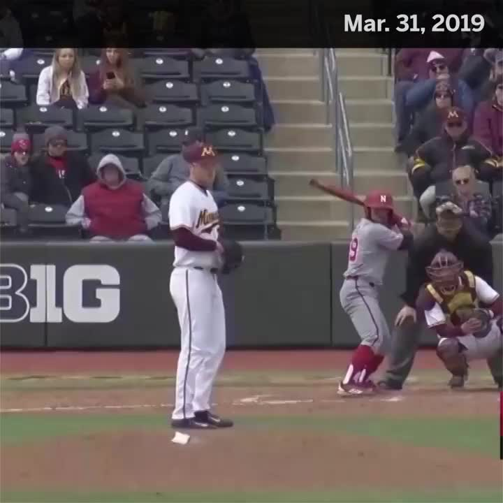 #OTD 3.31.19 @Husker_Baseball's Mojo Hagge hits an absolute rocket shot onto the Minnesota softball field 🚀
