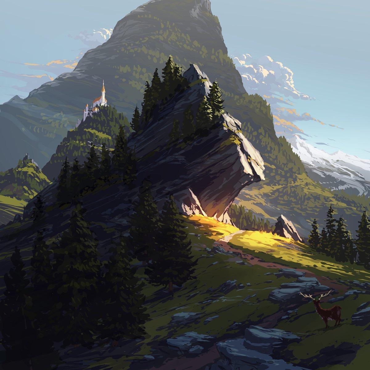 Some painting I did. #digitalart #digitalpainting #fantasy #environment #mountains #nature #rocks #sunset pic.twitter.com/gmhSVwZnQN