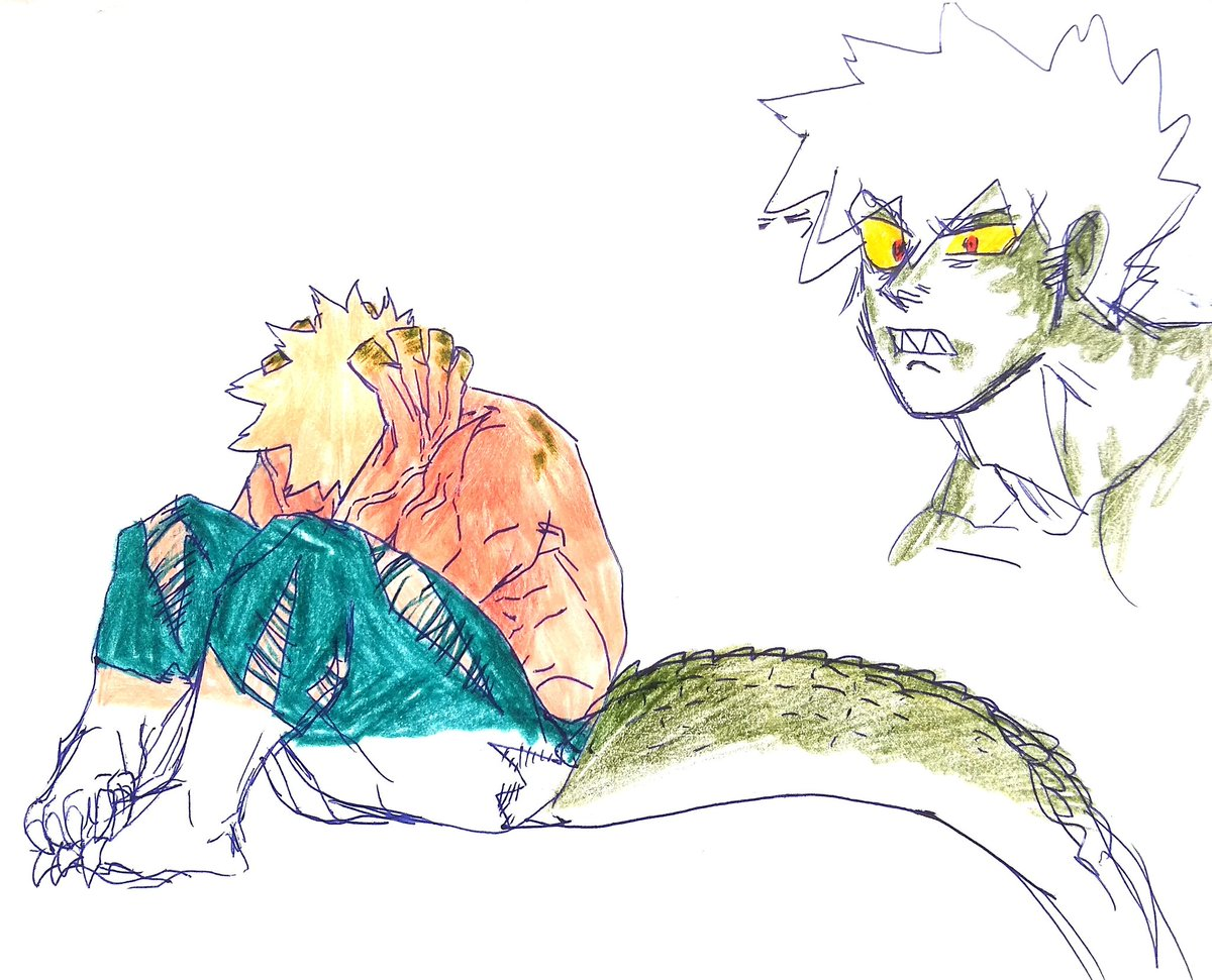 Croc Bakugou was hit by a quirk but he wants to hide himself from 1A with Ocha's help bc idk what I was thinking <br>http://pic.twitter.com/fBCSKDbdmS