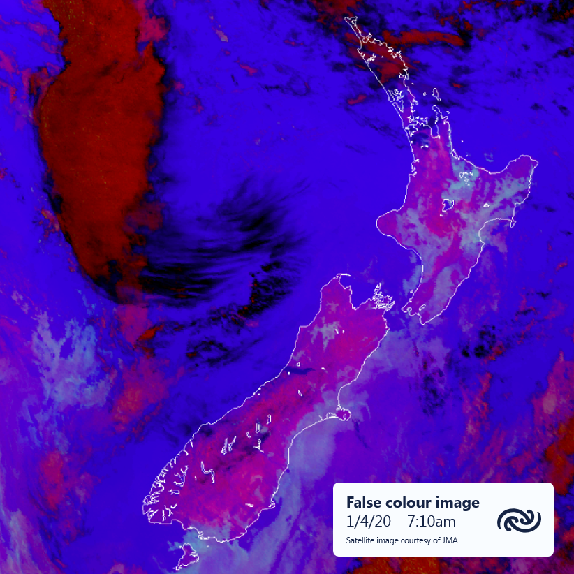 On this false colour satellite image, low cloud or fog shows up as greenish gray, in sharp contrast to the pink land and purple sea. Plenty of fog patches around Aotearoa this morning underneath a ridge of high pressure. Foggy at your place? Send in your photos!^AJ https://t.co/KdXG9c23TB