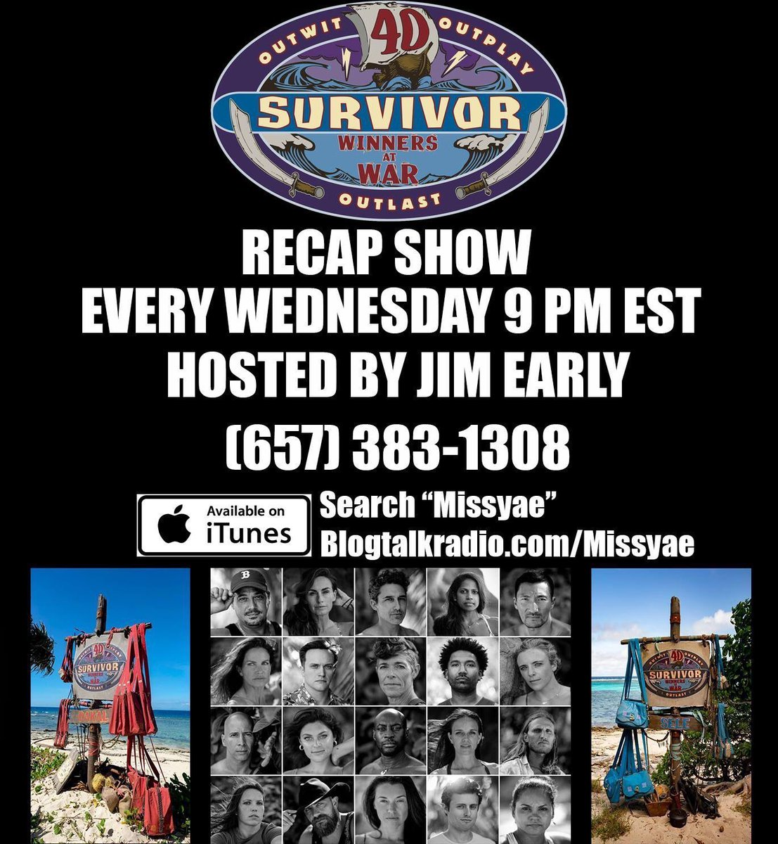 Tomorrow night!! @TheGameSurvivor presents another edition of the #MissyaePodcast: #SurvivorWinnersAtWar Recap Podcast!! It's #Merge time!! Who will come back from the #EdgeOfExtinction? #Survivor #SurvivorWhispersFacebook #Survivor40 http://tobtr.com/s/11704767