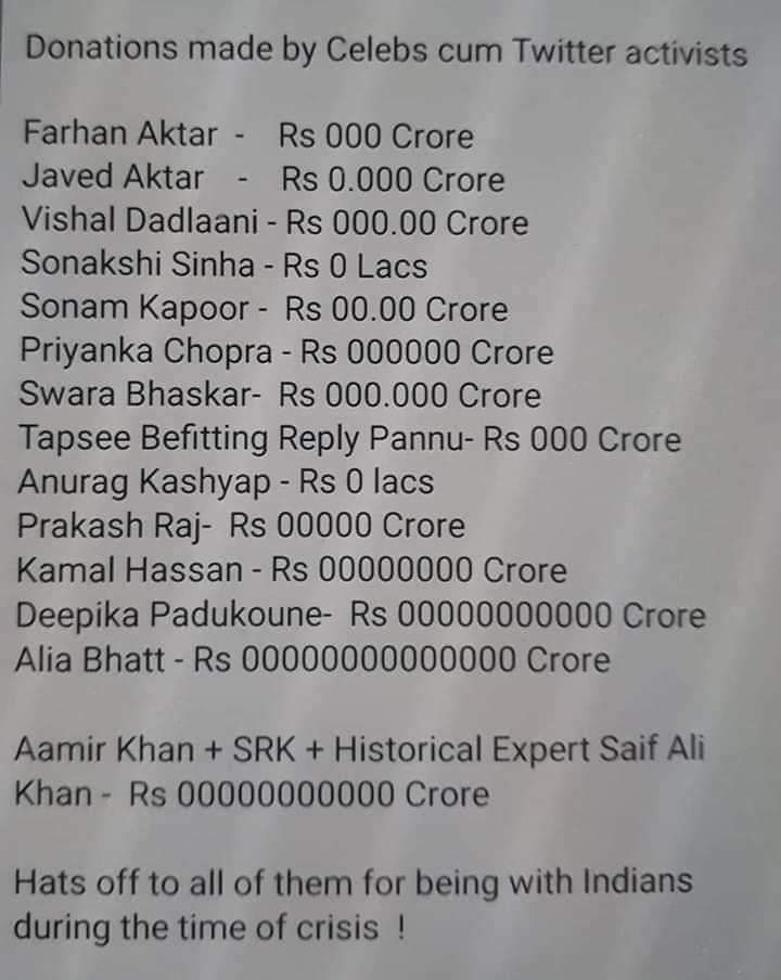 @FarOutAkhtar @Javedakhtarjadu  @VishalDadlani  @sonakshisinha  @sonamakapoor  @priyankachopra  @ReallySwara  #TapseePannu  @anuragkashyap72  @prakashraaj  #kamalhassan  @deepikapadukone  @aliaa08  @aamit  @iamsrk  #SaifAliKhan  How many crores did you donateNation wants to know?pic.twitter.com/sxv9UDQSUx