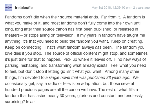 Saw this on tumblr and think it's an extremely important reminder this week for #TheMagicians fandom. This isn't the end for us, y'all.   https:// irisbleufic.tumblr.com/post/173485619 285/fandoms-dont-die-when-their-source-material   … <br>http://pic.twitter.com/GTIiu1rPKs