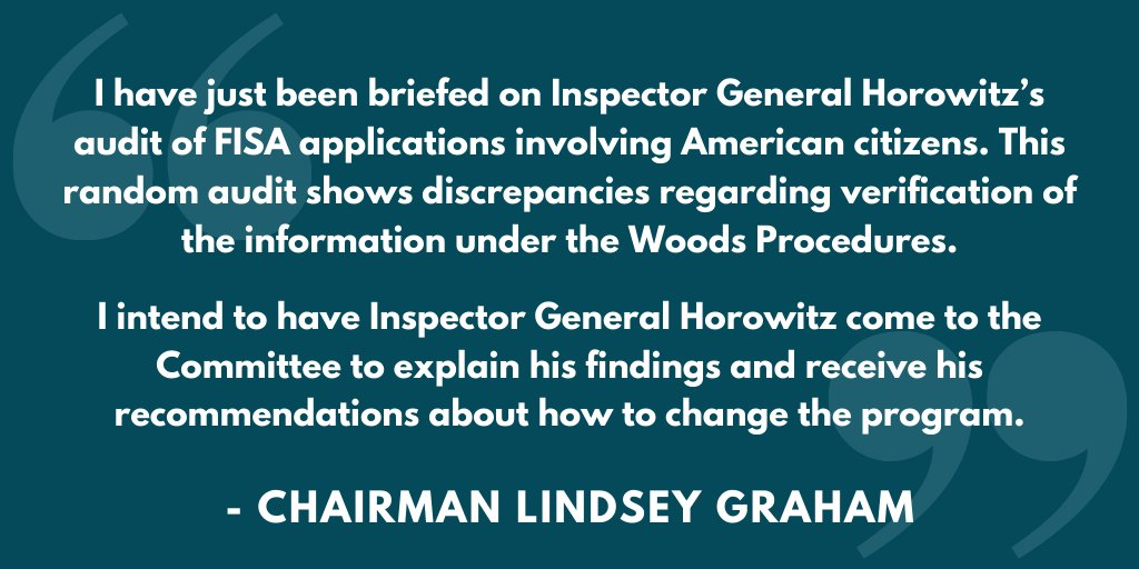 Chairman @LindseyGrahamSC today made this statement on IG Horowitz's lack of confidence that the FBI complied with standards for FISA warrant applications.  More:  https://www. judiciary.senate.gov/press/rep/rele ases/chairman-graham-statement-on-ig-horowitzs-lack-of-confidence-that-fbi-complied-with-standards-for-fisa-warrant-applications  … <br>http://pic.twitter.com/tk70R6vpia