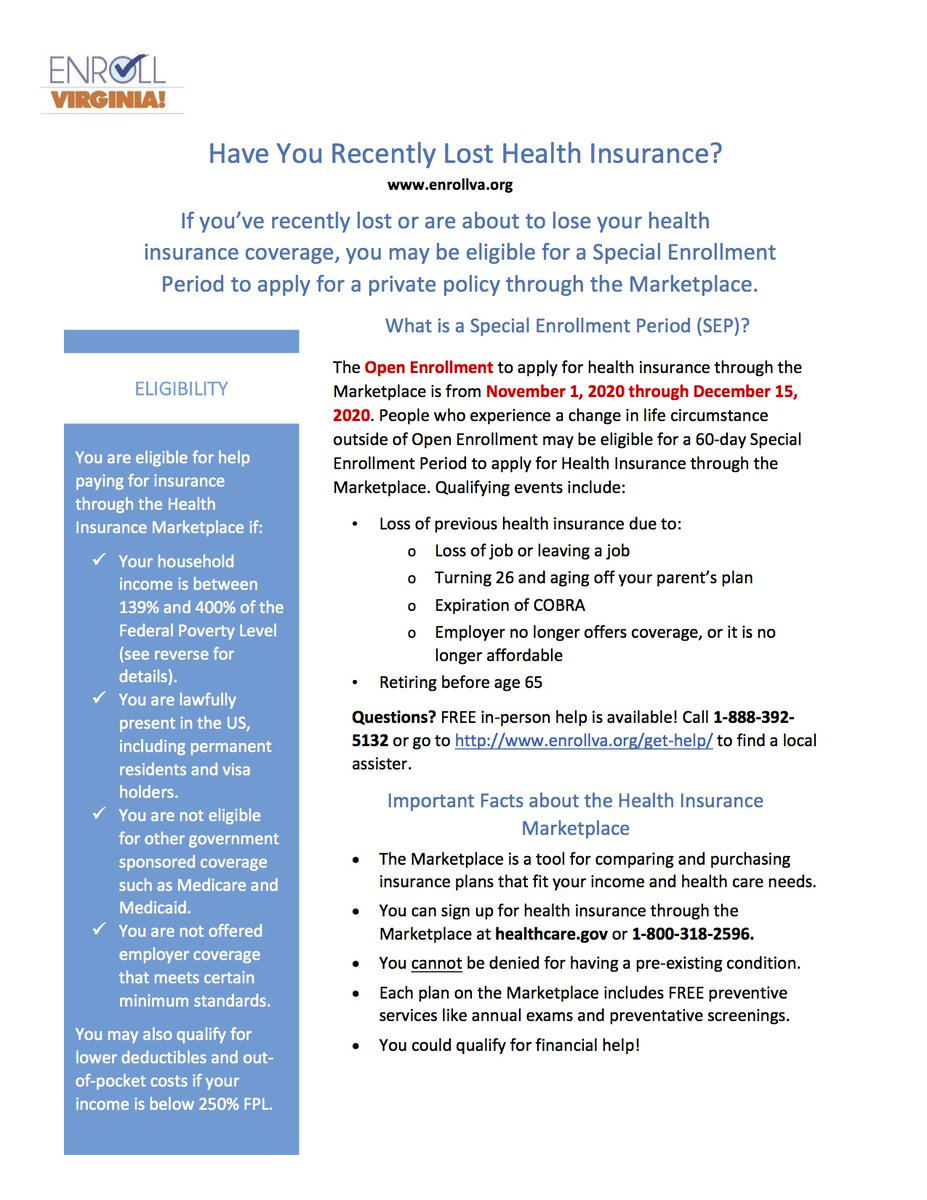 Important information for those who've recently lost health insurance: