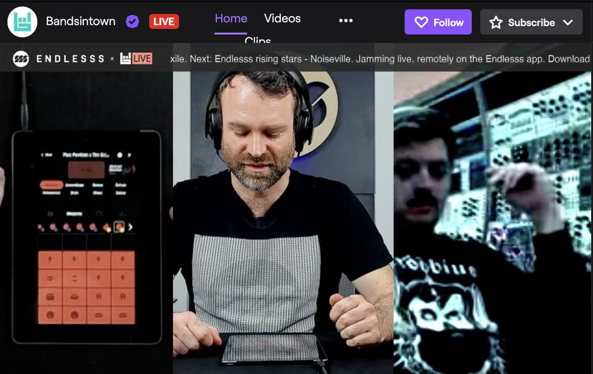 Time to jam live over on @Bandsintown's @Endlesssfm Twitch. https://www.twitch.tv/bandsintown