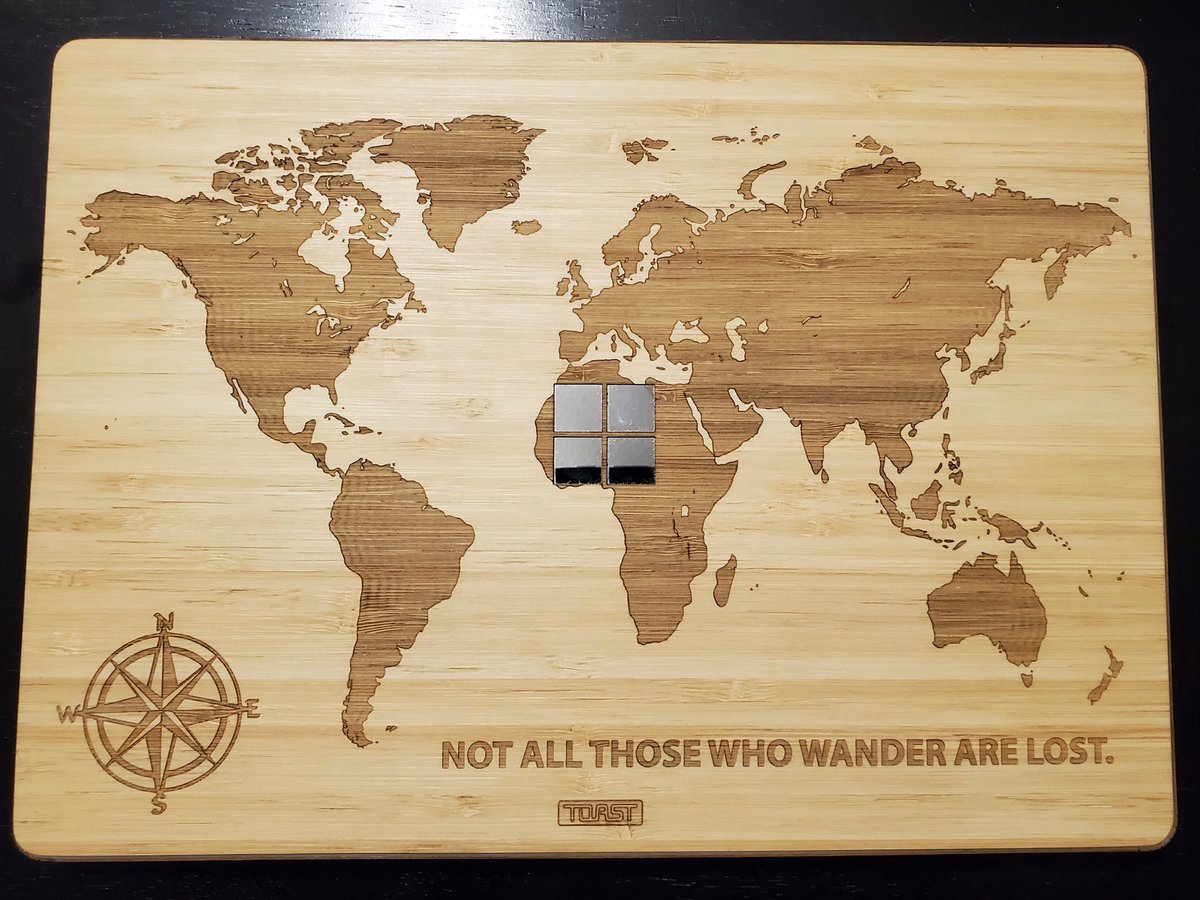 #CustomCoveroftheDay. Awesome world map design on a bamboo #SurfaceBook2 cover. #notallwhowanderarelost  : Brian Avery pic.twitter.com/tGzDnmPtH1