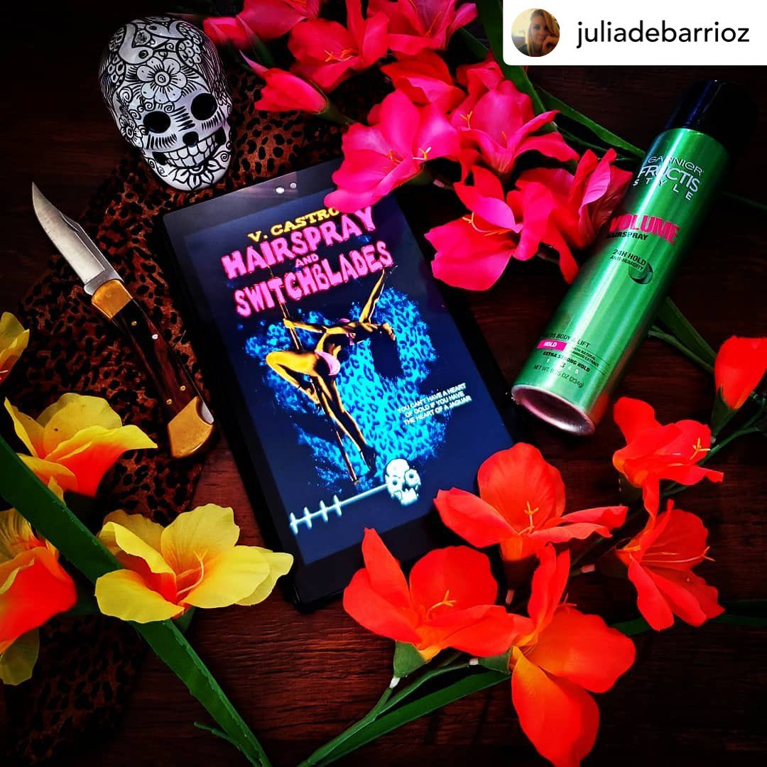 I'm loving this beautiful #bookstagram photo and 5⭐️ #BookReview for Hairspray and Switchblades from @UnnervingMag Always grateful to represent #Latinx #Horror 🙏🏽