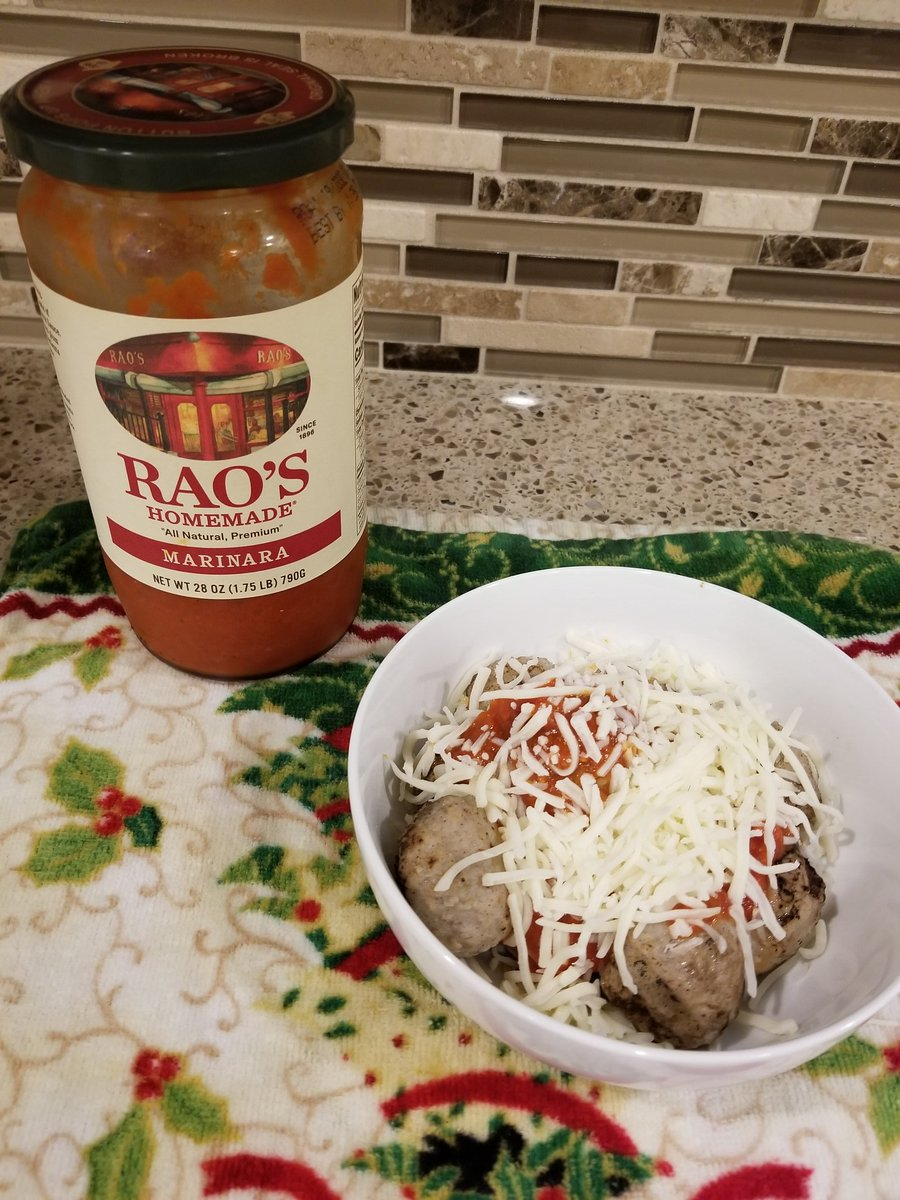 Chicken meatballs, cheese, Raos