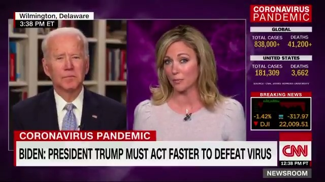 I wish hed listen more to the scientists and think less about the political consequences, Joe Biden says about President Trumps handling of the coronavirus pandemic. The President says hes a wartime president ... he should act like a wartime president.
