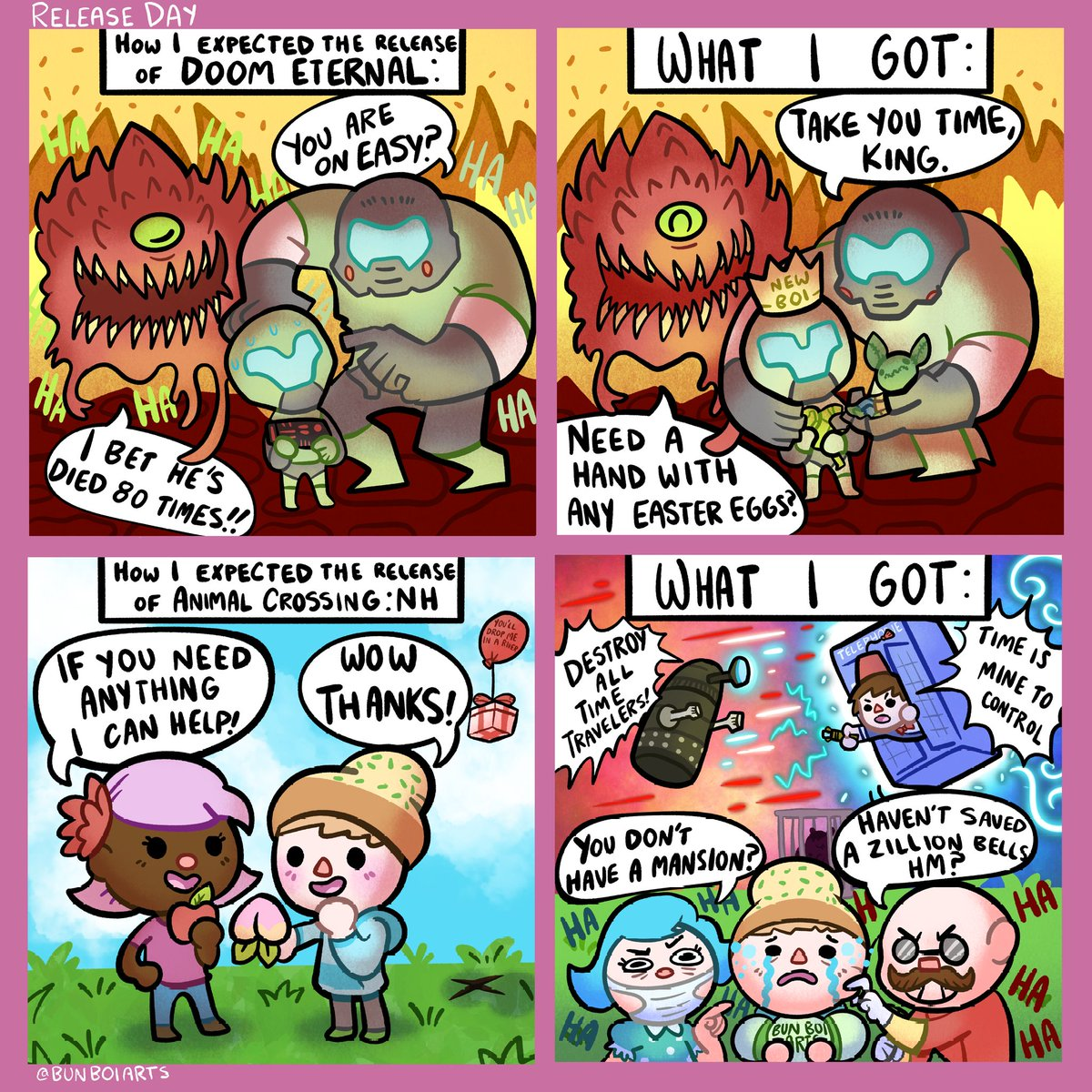 The release of Doom Eternal was pretty wild… but the release of Animal Crossing was insane. Tbh the saltiness was hilarious tho.   #Acnh #AnimalCrossing #DoomEternal #Doom #game #nintendo #switch #comic  This comic was inspired by @shenanigansenpic.twitter.com/5wbZykwcJG
