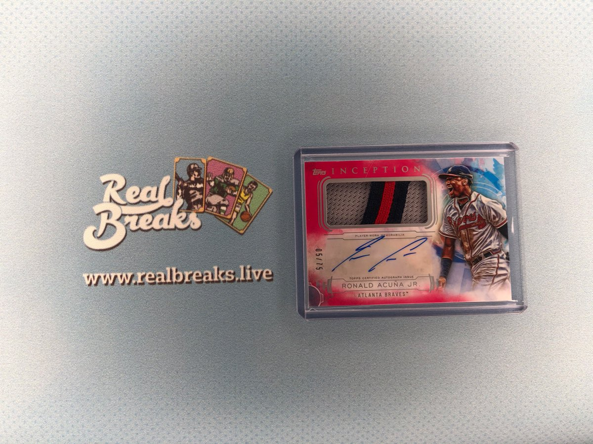 2020 Topps Inception Ronald Acuña Jr Magenta Patch Auto /75 . . . @Topps #realbreaks #boompoodle #topps #toppsbaseball #toppsinception #inceptionbaseball #casebreak #groupbreak #mlb #baseball #baseballcards #ronaldacunajr #acunajr #acuna #braves #bravesbaseball #choponpic.twitter.com/kDW5KX1ZjN