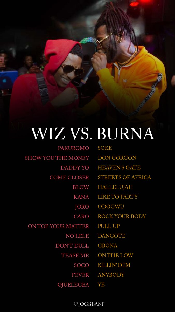 .... aye, I might've been wrong.  Burna definitely got Wiz up against the ropes. It's close though<br>http://pic.twitter.com/fqThlAgSjx