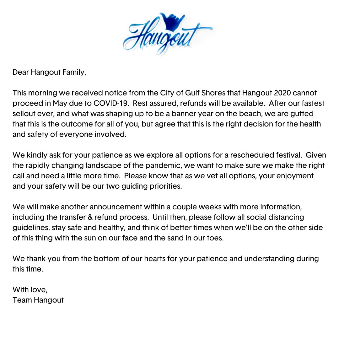 Hangout Fest 2020 canceled