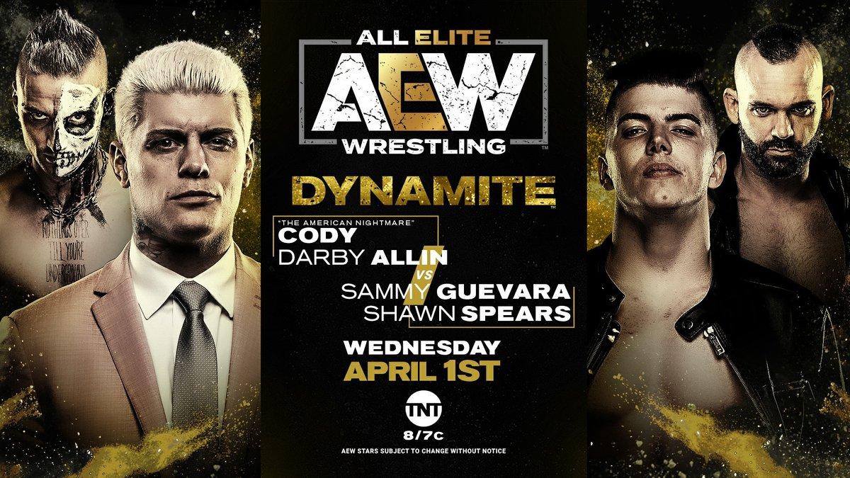 AEW Announces Darby Allin & Cody Rhodes Vs. Shawn Spears & Sammy Guevara For Tomorrow's Dynamite
