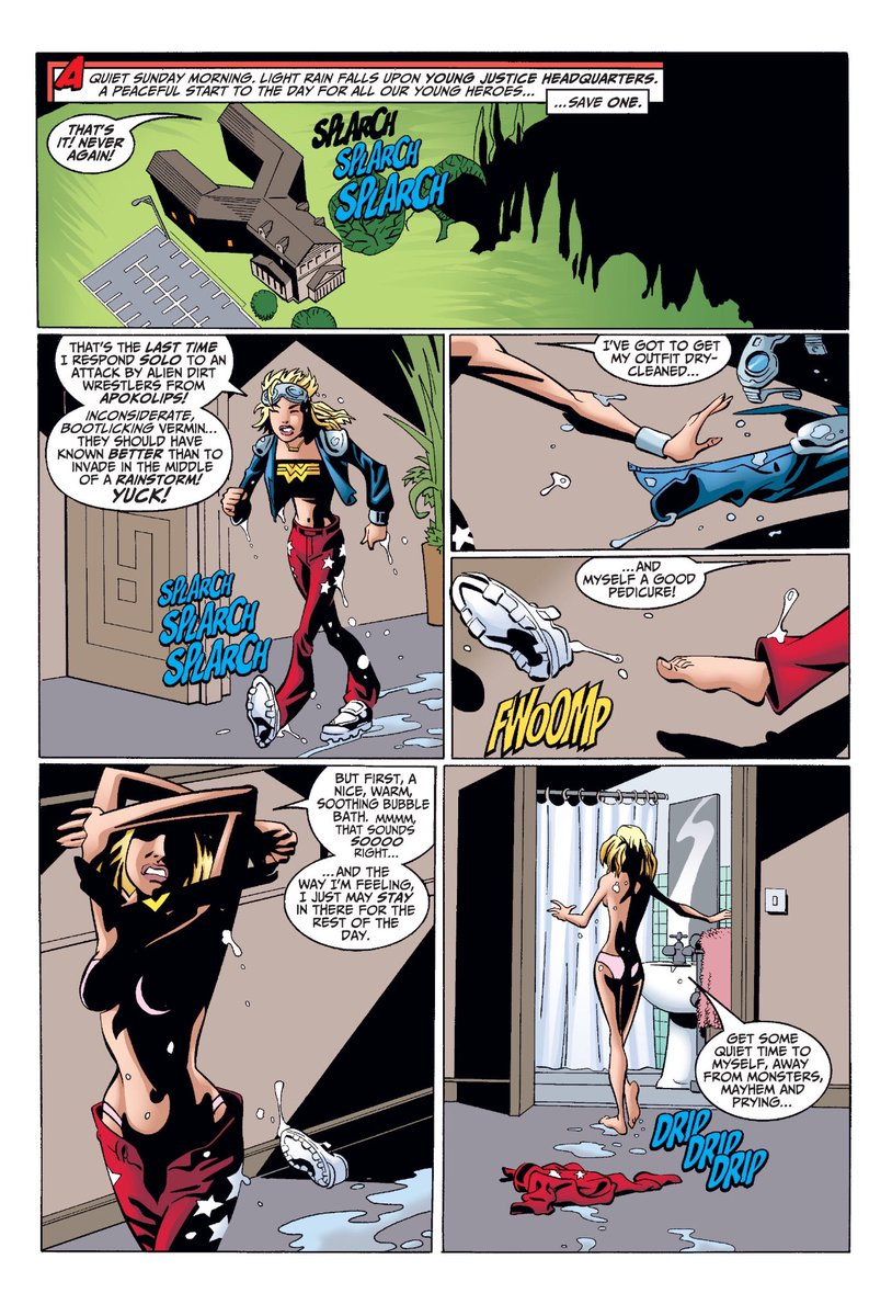 This is literally the first page of Dan Didio and Jimmy Palmiotti's Superboy run. Wonder Girl is like 15 at this point?