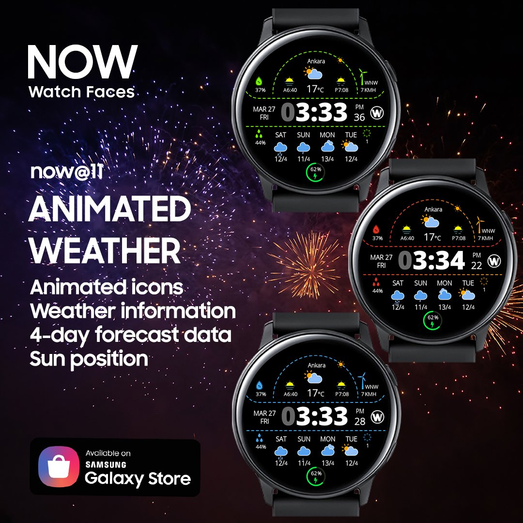 Animated Watch Face for Samsung smart watches Link: http://galaxy.store/nowapp011  Web: http://www.nowapp.dev   #NOW #Samsung #tizen #Weather #forecast #sunrise #sunset #ankara #tasarım #akıllısaat #smartwatch #watchfaces #tech #technology #design #app #dev #IoT #Galaxywatchpic.twitter.com/hQBwIVgkpq