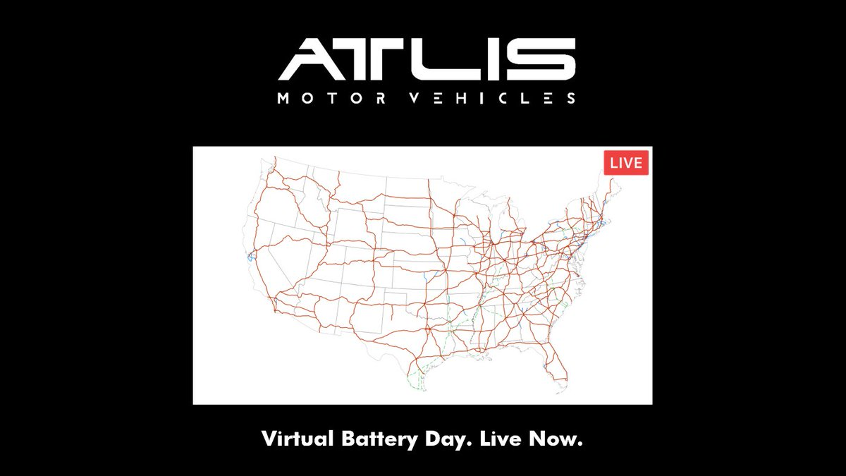 Live from Virtual Battery Day - We're talking charging infrastructure. Join now: https://www.youtube.com/watch?v=vtg-pjEy_SI … #batteryday #AtlisMotorVehicles #TeamAtlis #charging #chargingstation #battery #batterytech #technology #tech #innovation #virtual #electricvehicles #evs #trucks #PowerWorkpic.twitter.com/J0GYqQBuXn
