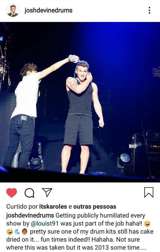 O SOFRIMENTO MEU PAI   Josh postou no Instagram uma das travessuras do Louis com ele durante os shows do one direction.   os rapazes aprontavam muito com os meninos da banda. Tadinhos pic.twitter.com/FkmxC2kjds