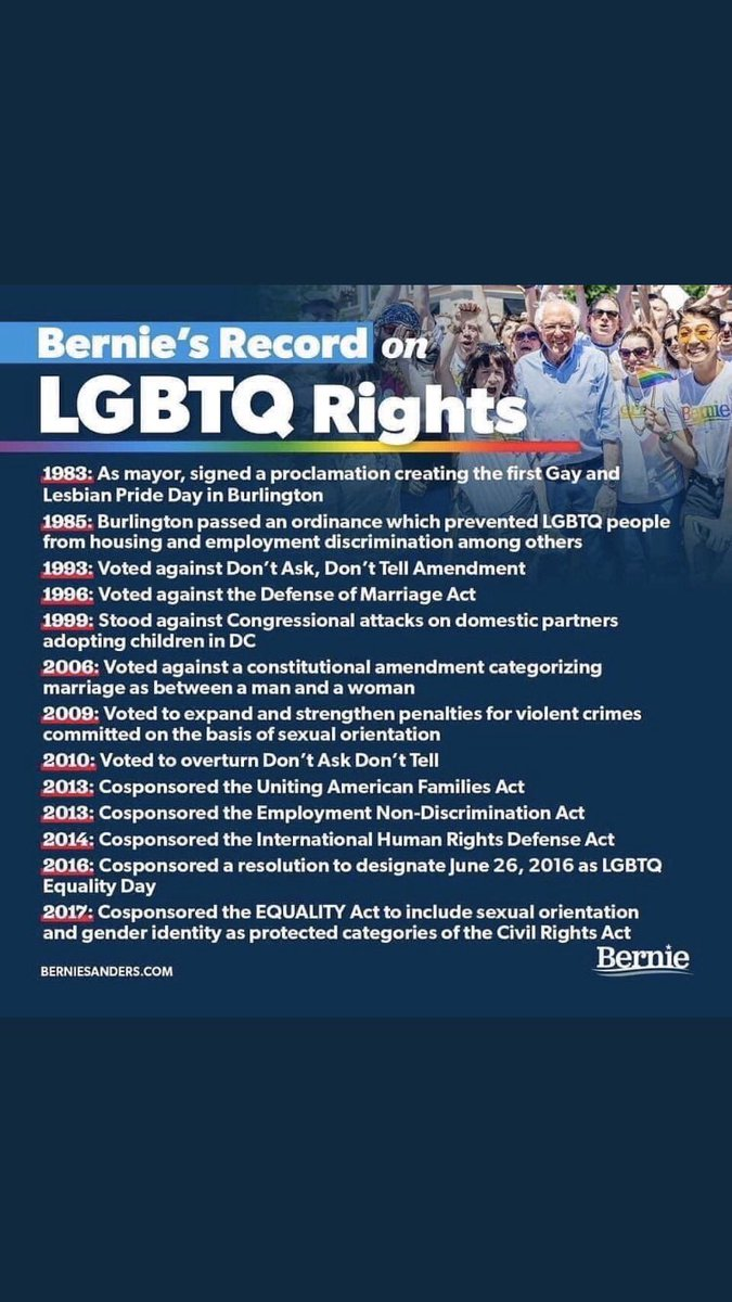 You have a history of being anti-LGBTQ+. You're only supporting them now because it benefits you.  Meanwhile Bernie: pic.twitter.com/0hct6eMlq0