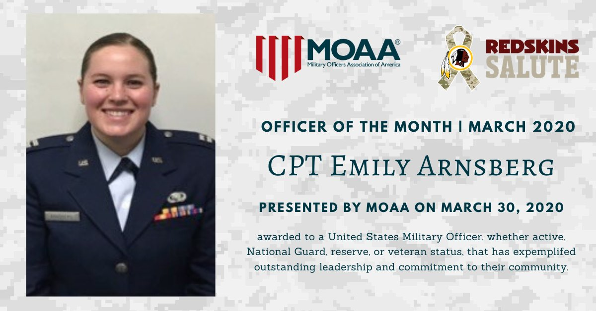 Congratulations to our former FedEx Football Fellow, Captain Emily Arnsberg of the @usairforce, on being named the March 2020 @MilitaryOfficer of the month!pic.twitter.com/aWpmuLGPSF